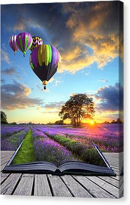 Hot Air Balloons And Lavender Book Canvas Print by Matthew Gibson
