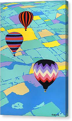 Abstract Hot Air Balloons - Ballooning - Pop Art Nouveau Retro Landscape - 1980s Decorative Stylized Canvas Print by Walt Curlee