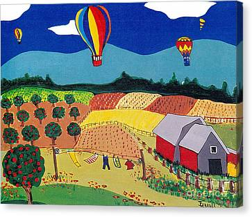 Canvas Print featuring the painting Hot Air Balloons Over Farmland by Joyce Gebauer