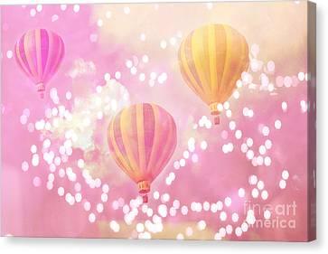 Hot Air Balloons Surreal Dreamy Baby Pink Yellow Hot Air Balloon Art - Child Baby Nursery Room Art Canvas Print