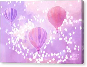 Surreal Dreamy Hot Air Balloons Lavender Purple Carnival Festival Art - Child Baby Girl Nursery Art Canvas Print by Kathy Fornal