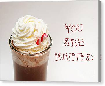 Hot Chocolate And Whipped Cream Invitation Canvas Print by Andee Design