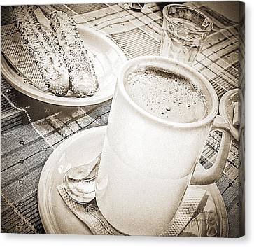 Hot Chocolate In Cold Ushuaia Canvas Print by Julie Palencia