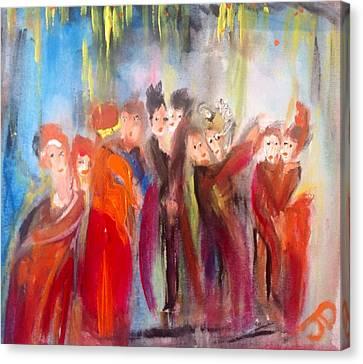 Hot Christmas Polka Canvas Print by Judith Desrosiers