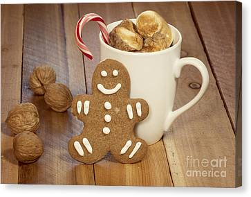 Hot Cocoa And Gingerbread Cookie Canvas Print