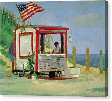 Hot Dog Stand Oil On Canvas Canvas Print by Sarah Butterfield