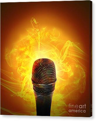 Hot Music Microphone Burning Canvas Print by Angela Waye