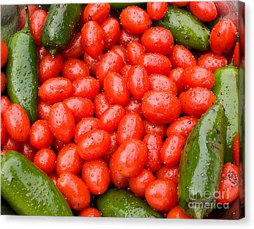 Hot Peppers And Cherry Tomatoes Canvas Print by James BO  Insogna