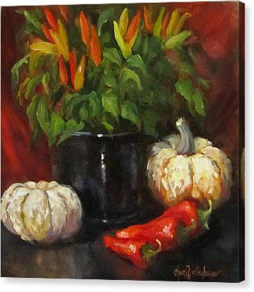 Canvas Print featuring the painting Hot Peppers And Gourds by Cheri Wollenberg