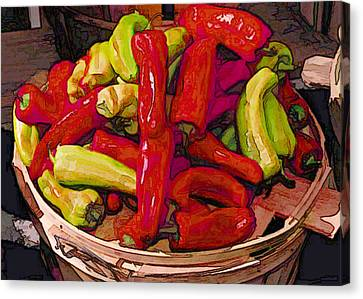 Hot Peppers In A Basket Canvas Print by Elaine Plesser