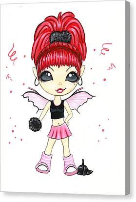 Cheerleaders Canvas Print - Hot Pink Cheerleader  by Elaina  Wagner