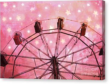 Hot Pink Ferris Wheel With Stars -  Fantasy Carnival Ride - Pink Ferris Wheel With White Stars  Canvas Print by Kathy Fornal