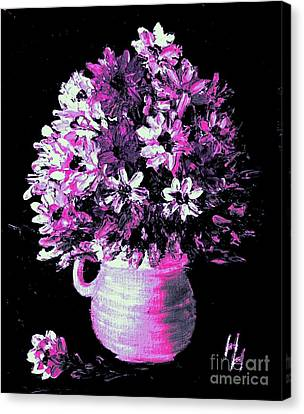 Hot Pink Flowers Canvas Print by Hazel Holland