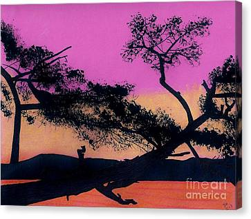 Canvas Print featuring the drawing Hot Pink Sunset by D Hackett