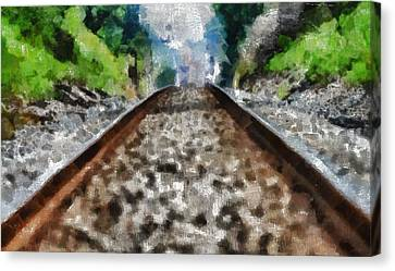 Hot Railroad Tracks Summer Day Canvas Print by Dan Sproul