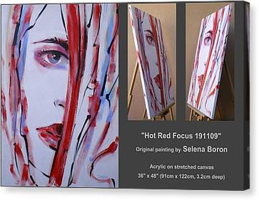 Canvas Print featuring the painting Hot Red Focus 191109 by Selena Boron
