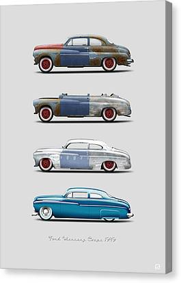 Hot Rod Sequence Mercury Coupe 49 Bkg Gray Canvas Print