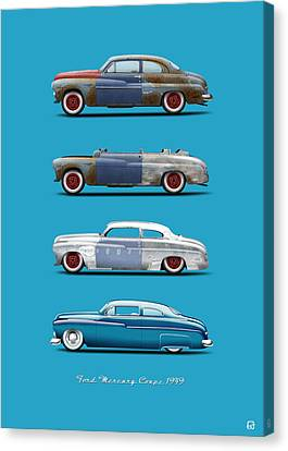 Hot Rod Sequence Mercury Coupe 49 Bkg Hard Blue Canvas Print
