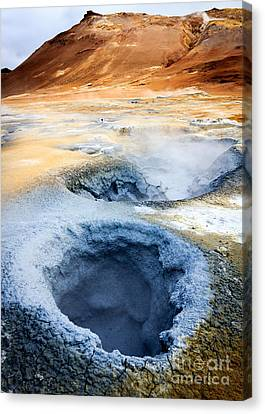 Canvas Print featuring the photograph Hot Springs At Namaskard In Iceland by Peta Thames