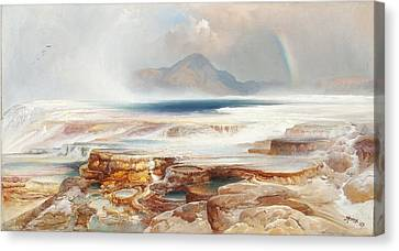 Hot Springs Of Yellowstone Canvas Print by Thomas Moran