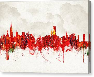 Hot Summer Day In Chicago Canvas Print by Aged Pixel