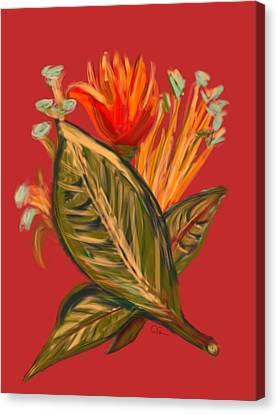 Canvas Print featuring the digital art Hot Tulip L by Christine Fournier
