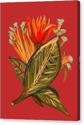 Canvas Print featuring the digital art Hot Tulip R by Christine Fournier