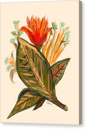 Canvas Print featuring the digital art Hot Tulip Spring by Christine Fournier