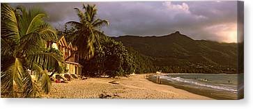 Hotel Apartments On Beau Vallon Beach Canvas Print by Panoramic Images