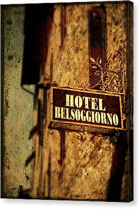 Canvas Print featuring the photograph Hotel Belsoggiorno by Micki Findlay