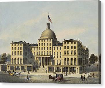 Hotel Burnet Circa 1850 Canvas Print by Aged Pixel
