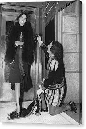 Chivalrous Canvas Print - Hotel Chivalry For Guest by Underwood Archives