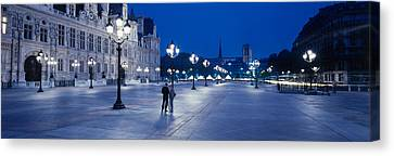 Hotel De Ville & Notre Dame Cathedral Canvas Print by Panoramic Images