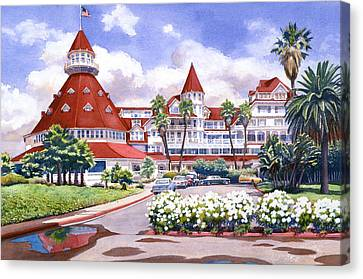 West Coast Canvas Print - Hotel Del Coronado After Rain by Mary Helmreich