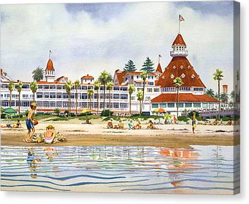 Hotel Del Coronado From Ocean Canvas Print by Mary Helmreich
