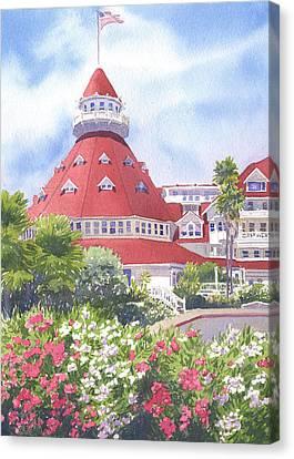 Hotel Del Coronado Palm Trees Canvas Print by Mary Helmreich