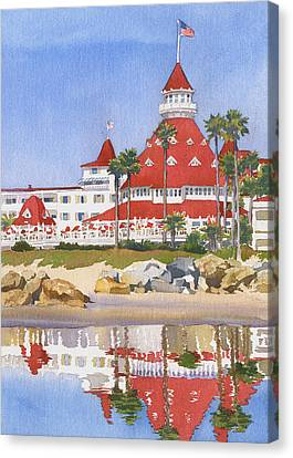 Hotel Del Coronado Reflected Canvas Print by Mary Helmreich