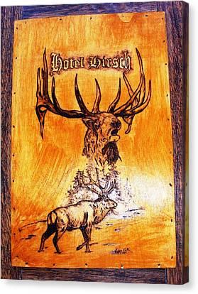 Hotel Elk - Wood Pyrography Canvas Print by Egri George-Christian