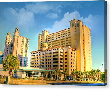 Hotel In Downtown Myrtle Beach Canvas Print by Kathy Baccari