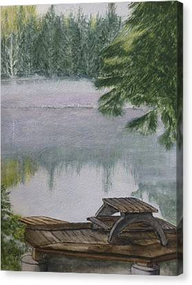 Canvas Print featuring the painting Hotel Lake Resort In Bc by Kelly Mills