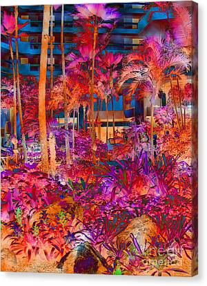 Hotel Lobby In Maui Canvas Print by Connie Fox