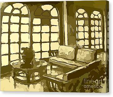 Hotel Lobby In Yellow Canvas Print by John Malone