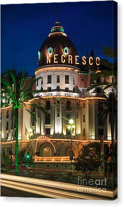 Hotel Negresco By Night Canvas Print by Inge Johnsson