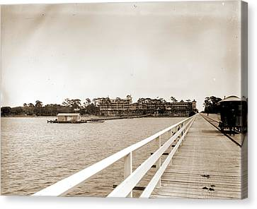Florida Bridge Canvas Print - Hotel Ormond From Bridge, Ormond, Fla, Hotels, Resorts by Litz Collection