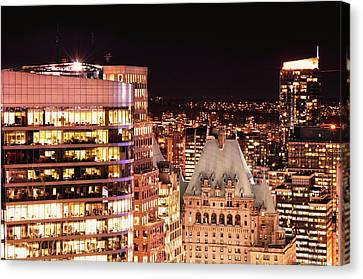 Canvas Print featuring the photograph Hotel Vancouver And Wall Center Mdccv by Amyn Nasser