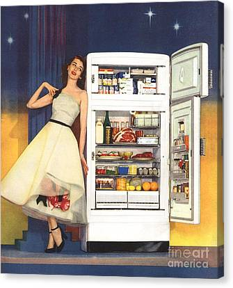 Hotpoint 1951 1950s Usa Fridges Canvas Print by The Advertising Archives