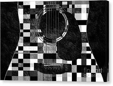 Hour Glass Guitar Random Bw Squares Canvas Print by Andee Design