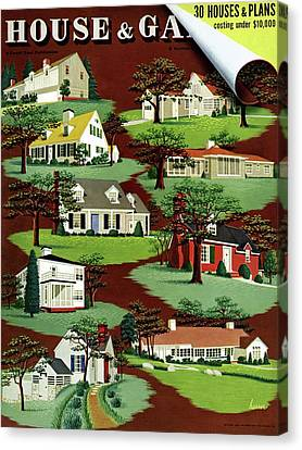 Back Yard Canvas Print - House & Garden Cover Illustration Of 9 Houses by Robert Harrer