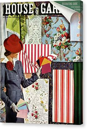 House & Garden Cover Illustration Of A Woman Canvas Print by Joseph B. Platt
