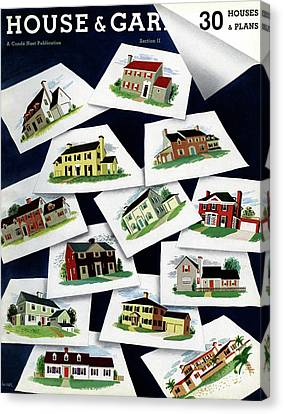 House & Garden Cover Illustration Of Various Homes Canvas Print by Robert Harrer